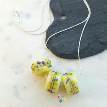 Lampwork Charm Necklace Lemon Crocus, Sterling Silver Necklace, Lampwork Jewellery, Gift for Her, Bridesmaid Gift