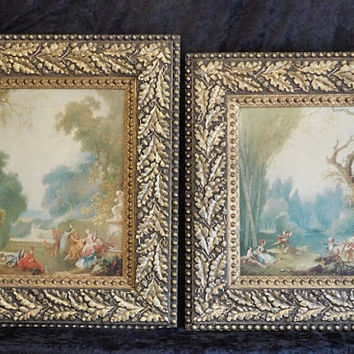 Vintage Giclee Prints Jean Honore Fragonard Rococo Genre Scenes A Game of Hot Cockles Horse and Rider Ornate Carved Gesso Gold Gilt Frames