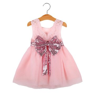 Baby girl dress summer kids princess dress sleeveless lace shiny bowknot chiffon first birthday dresses For Christmas Outfits