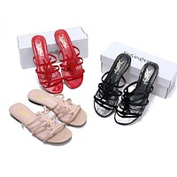 YSL 2019 new classic patent leather word with metal buckle open toe fashion flat female slippers
