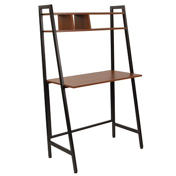 Wilmette Computer Desk with Storage Shelf and Black Metal Frame