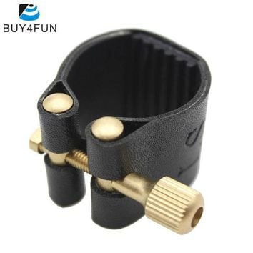 CREY3F Compact Durable Ligature Fastener for Alto Sax Saxophone Rubber Mouthpiece Artificial Leather Musical Instrument Accessories