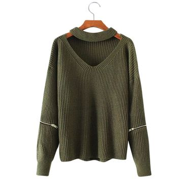 ZAFUL Autumn Winter Women Sweaters Pullovers Casual Loose Knitted Sweater Women Tricot Pullover Jumpers Chunky Choker Sweater