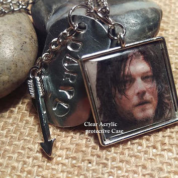 Daryl's Thangs Necklace, portrait, arrow, D.D. , hand stamped,