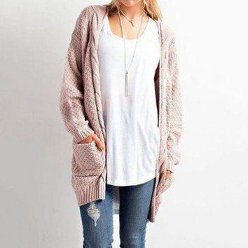 DCCK8H2 Long Sleeve Knitwear Open Front Cardigan Sweaters Outerwear with Pocket