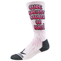 OR BUST Sublimated Crew Socks breast cancer awareness pink ribbon unisex