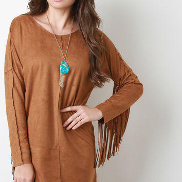 Fringe Sleeve Suede Shift Dress
