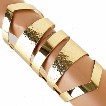 "6.50"" gold long cut out boho bracelet bangle cuff"