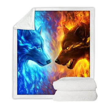 Fire and Ice by JoJoesArt - Wolf Throw Blanket