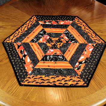 Hexagon Halloween Table Runner Quilt, Skeletons, Bats, Pumpkins, Spider Webs, Orange and Black