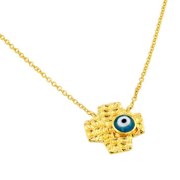 .925 Sterling Gold Plated Evil Eye Blue Iris Square Cross Pendant Necklace 18 Inches