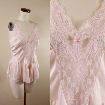 Vintage - 80s - Pale Pink - See Through - Floral Lace - Onesuit - Ruffle Teddy - Lingerie - Nightie - Plus Size - Size 16 18 - Bridal