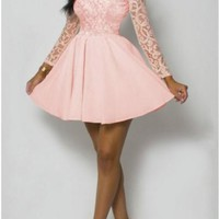 New Women Pink Patchwork Floral Lace Long Sleeve High Waisted Homecoming Party Mini Dress