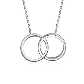 Circle Interlock Infinity Mother Daughter Necklace Sterling Silver