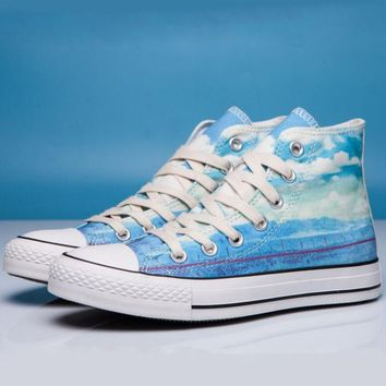 Converse Print All Star Sneakers for Unisex Hight tops sports Leisure Comfort Shoes Blue high tops