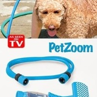 Pet Zoom Bathe N' Groom Indoor Outdoor Dog Washer and Grooming System with 4 Foot Hose and Three Connectors