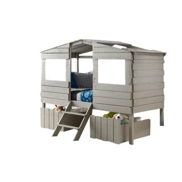 Cora Gray Club House Loft Bed with Storage Drawers