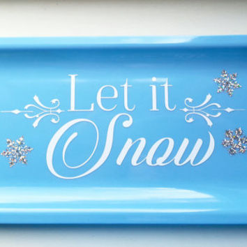 Christmas Decoration Christmas Gift Let it Snow Snowflakes Platter