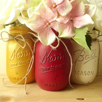 Rustic, Hand Painted, Set of Three Mason Jars - Red, Gold and White Painted Mason Jars