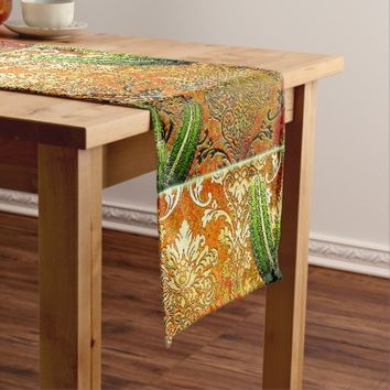 Vintage Mexican Desert Cactus Short Table Runner
