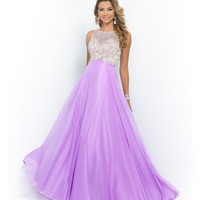 Purple Orchid Beaded Bodice Open Back Chiffon Gown