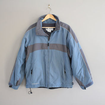 Columbia Jacket Grey Blue Ski Coat Vintage Fleece Convert Parka Ski Hiking Mountain Outdoors Winter 90s Size L #O041A