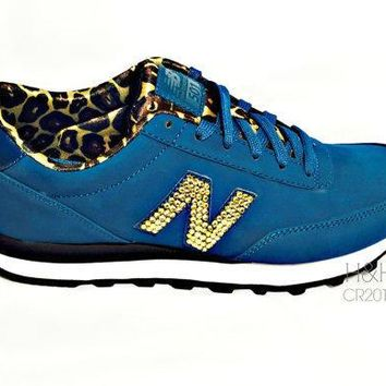 new balance quot 501 quot sneaker with hand placed swarovski crystal detail on outside logo 39 s