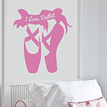 Wall Decal Vinyl Sticker Decals Art Decor Design Ballerina Dance Shoes Gymnastics Dancer Sign I love Ballet Girl Sport Nursery Bedroom(r662)