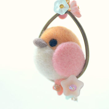 Needle felted bird pendant, handmade bird necklace, soft sculpture pink bird on cherry blossom flower hoop, whimsical jewelry, gift under 25
