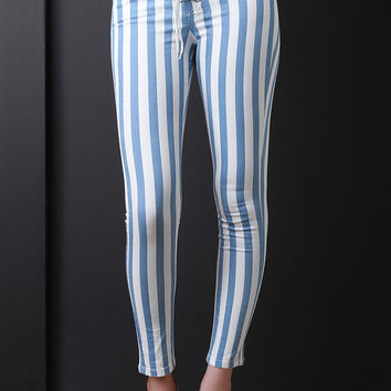 Horizontal Stripe Lace-Up Skinny Pants