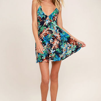 Samana Bay Navy Blue Floral Print Dress