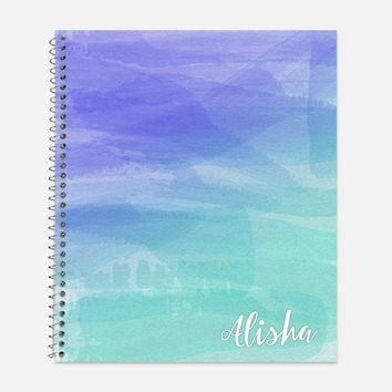 Watercolor Wash Notebook, Waterproof Cover, Journal, Ombre Watercolor, School Supplies, Personalized Notebook, College Ruled