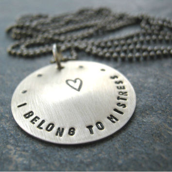 I Belong to Mistress Necklace with gunmetal ball chain, 30 inches, you cut to your size, BDSM, Fetish, slave, master, femdom