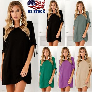 Womens Bandage Tie Sleeve Plain Shift Dress Party Cocktail Formal Mini Dress USA