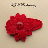 Poinsettia Flower Snap Clip Barrette on Red Felt And Fabric With Gold Specs and Button