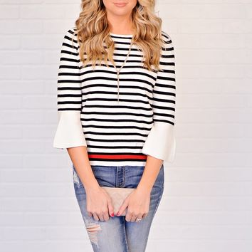 * KayKay Striped Top With Bell Sleeves : White/Black