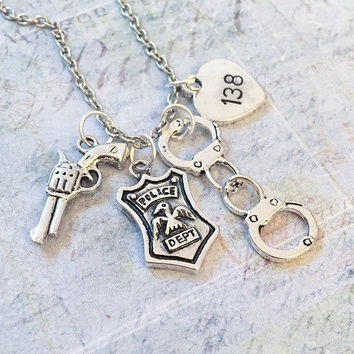 Customized Police Officer Necklace , Police Officer Jewelry, Police Wife, Police Mom, Police Girlfriend, Deputy Jewelry, Cop Jewelry