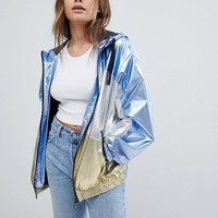 ASOS DESIGN metallic panel rain jacket at asos.com