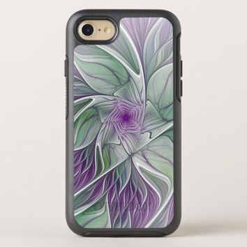Flower Dream, Abstract Purple Green Fractal Art OtterBox Symmetry iPhone 8/7 Case
