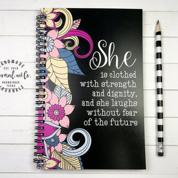 Writing journal, spiral notebook, bullet journal, sketchbook, black floral blank lined grid paper - She is clothed with strength and dignity