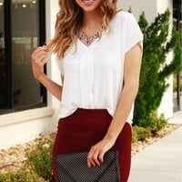 Knit Pencil Skirt Burgundy