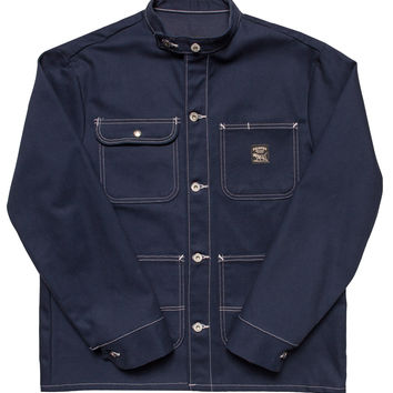 Navy Duck Chore Coat - Banded Collar