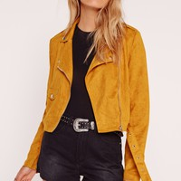 Missguided - Faux Suede Biker Jacket Mustard
