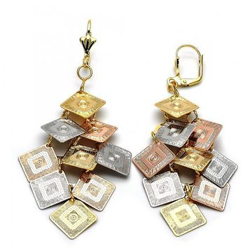Gold Layered 5.071.005 Chandelier Earring, Diamond Cutting Finish, Tri Tone