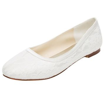 Lace Satin Flat Heel Closed Toe Shoes,High Quality Wedding Shoes, L-577