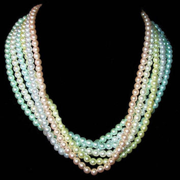 """Joan Rivers Pastel Beaded Necklace Signed Pink Green White 6 Strands 18"""" Vintage"""