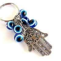 Hamsa Evil Eye Keychain Bag Charm Keyring Protection Yoga Accessories Christmas Stocking Stuffer Unique Gift Under 10 Item J3