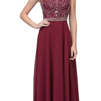 Burgundy Beaded Sleeveless Long Formal Dress A-Line