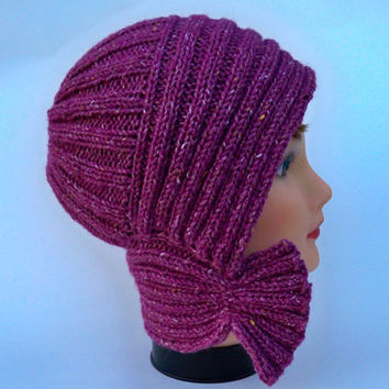 Knit Cloche - Plum Tweed Hat - Flapper Style Hat - Wool Blend Beanie - Asymmetrical Toque