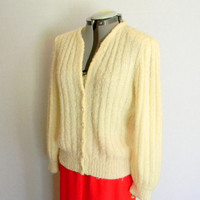 CLEARANCE Vintage Cardigan. 80s Sweater Off White Boucle Knit Jacket Mad Men Fashion. Fall fashion.